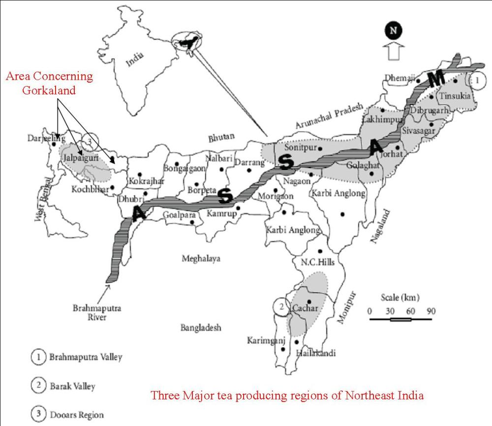 Gorkaland map india tea regions